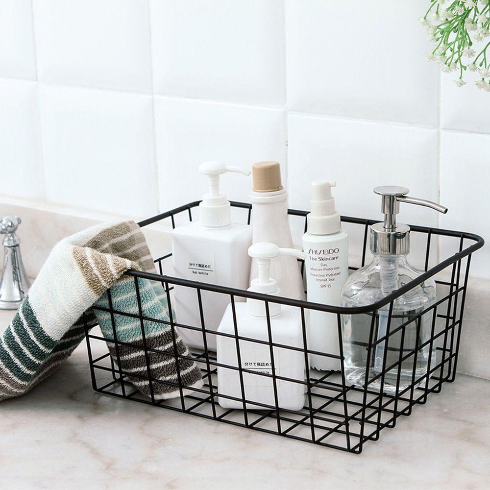 Japanese Style Wrought Iron Tabletop Fruit Storage Baskets Organize Baskets Bathroom Countertop Baskets Kitchen Storage Boxes