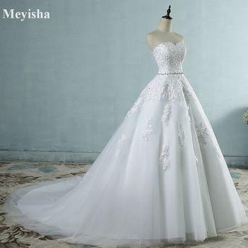 ZJ9032 2017 dentelle fleur Chérie Blanc Ivoire Mode Sexy Robes De Mariée pour les mariées plus taille maxi taille 2-26 W