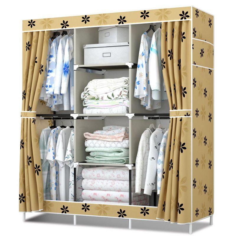 Nouveau tissu garde-robe simple 4 penderie renforcement de salle de Location l'assemblée grande capacité de pliage tissu oxford couvercle cabinet
