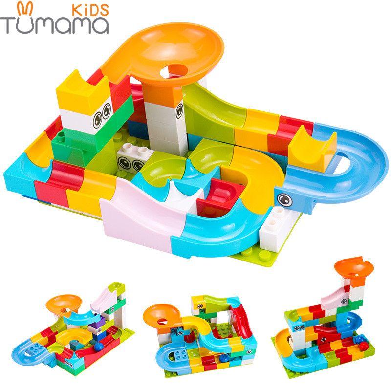 52 pièces Construction Marbre Course Run Labyrinthe Boules Piste blocs de Construction grande taille Éducatifs Briques compatible avec Legoed Duploed