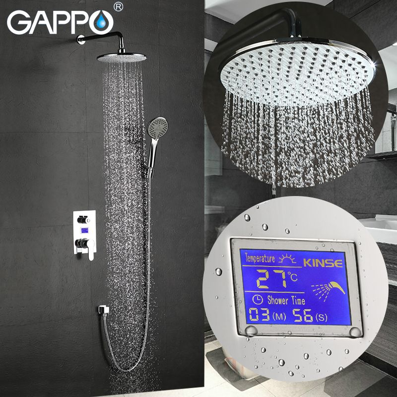 GAPPO shower faucet in-wall LCD Digital Display shower faucet brass rainfall bathtub mixer tap chrome waterfall Bath Shower