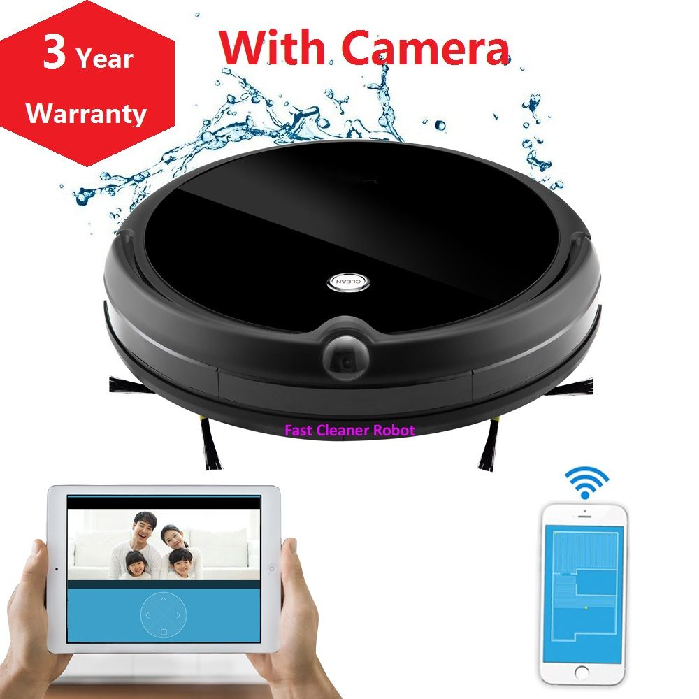 2019 NEWEST Wet And Dry WIFI APP Robot Vacuum Cleaner Camera Monitor,Map Navigation,Smart Memory,Video Call,350ML Water Tank