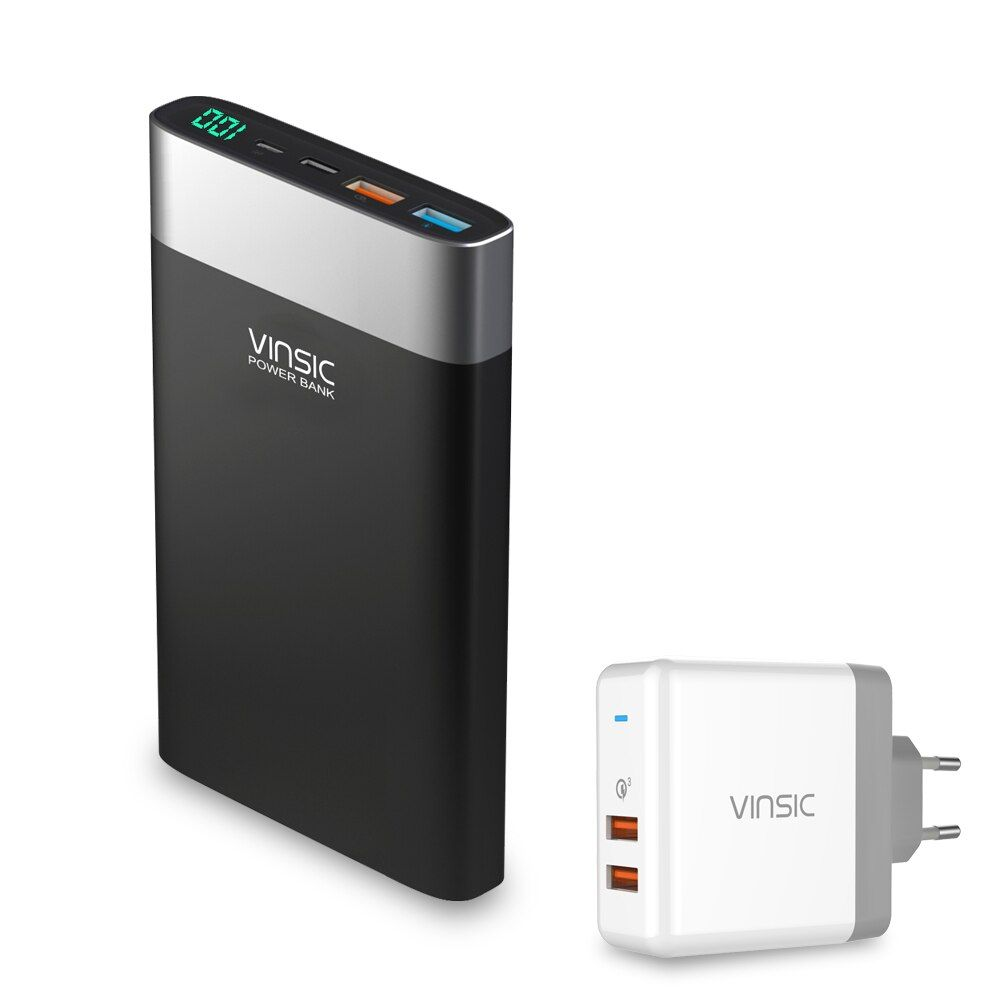 Vinsic 20000mAh Power Bank Quick Charge 3.0 QC 3.0 Dual USB Type-C External Portable Battery Charger For iPhone Xiaomi Sumsung
