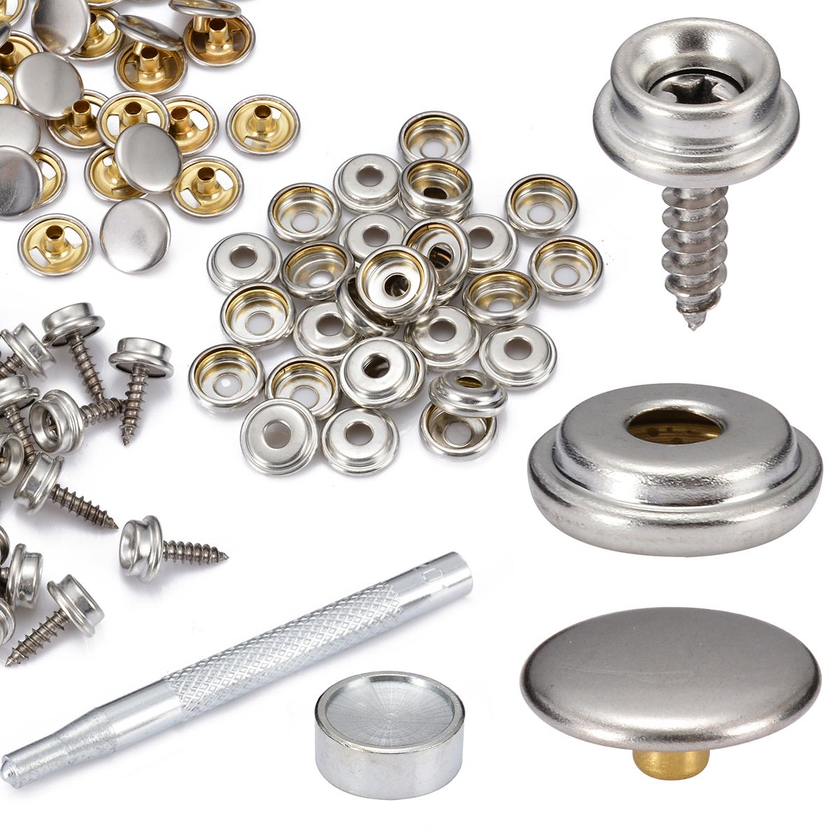 Mayitr 30 Set Snap Fastener Screw Kit Stainless Steel Push Button Cover Plane Tent Boat Camping Car Canopy Accessories Tools