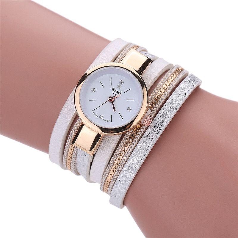 2017 Women Bracelet Watch Montre femme Leather Band Bracelet Quartz Braided Winding Wrap WristWatch Casual Female Hour Drop Ship