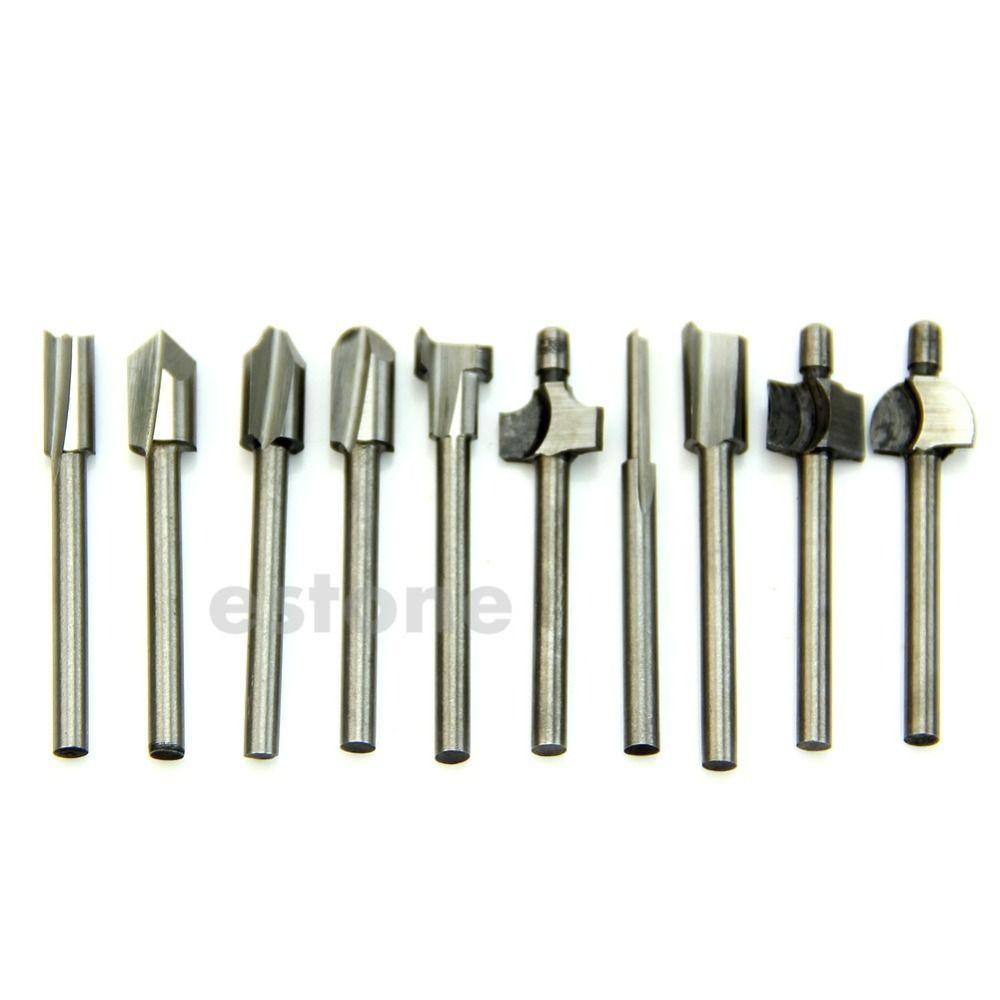 Бесплатная доставка HSS Маршрутизатор биты деревянные фреза подходит инструмент Dremel 10 шт. 1/8