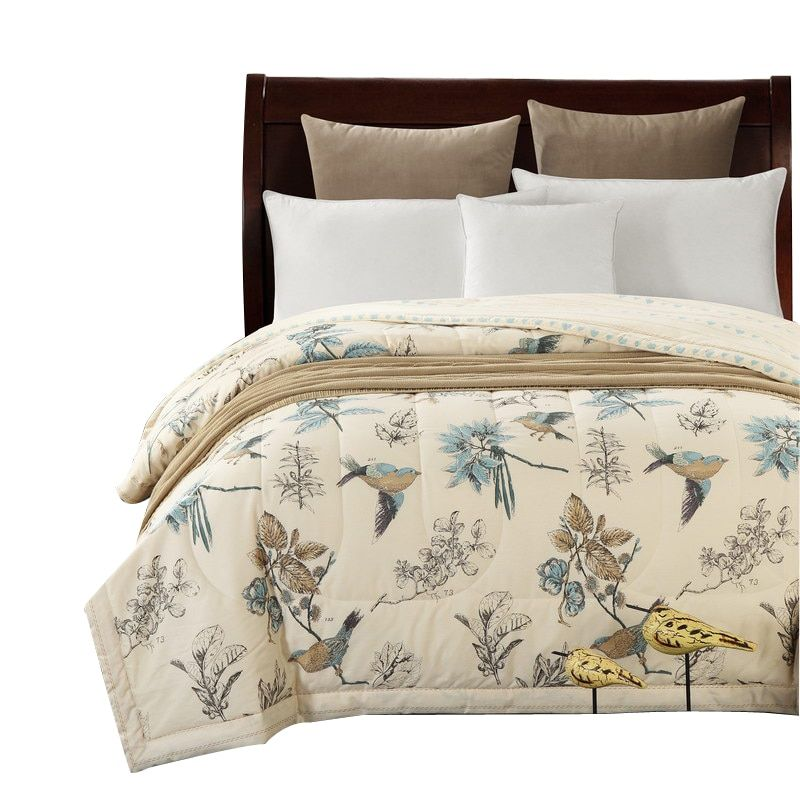 Svetanya Cotton Bedspread American Pastoral Bird print Throws Blanket summer thin Comforter stiching Duvet Quilt Filling