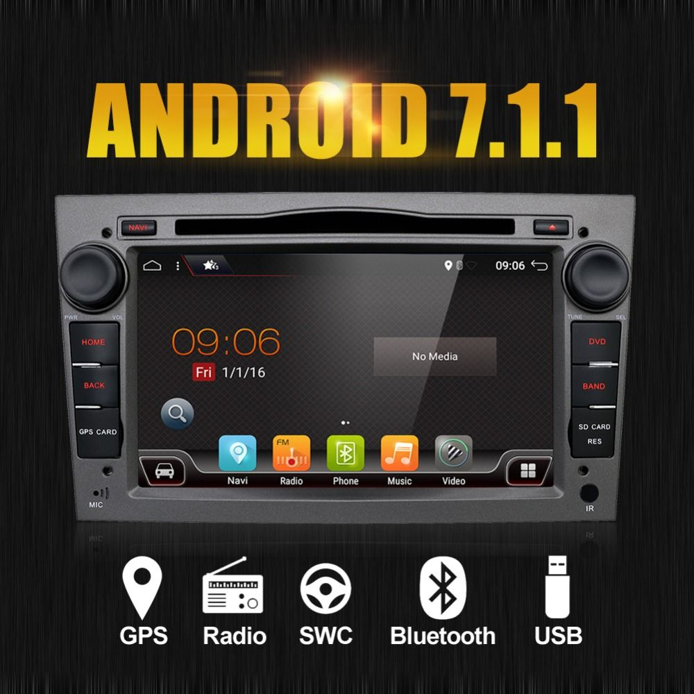 1024*600 Quad Core Android 7.1 Car DVD Player for Vauxhall Opel Astra H G Vectra Antara Zafira DTV DAB( box are Optional)