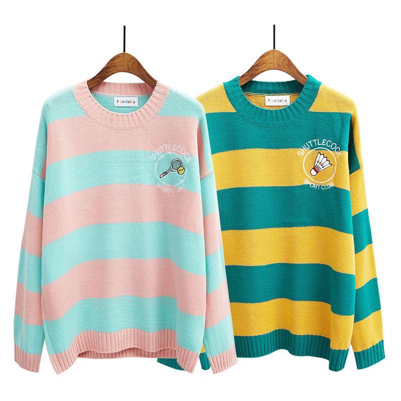 Harajuku femmes coréennes bonbons couleur rayure dessin animé broderie lâche pull femme Kawaii mignon rétro tricoté pull