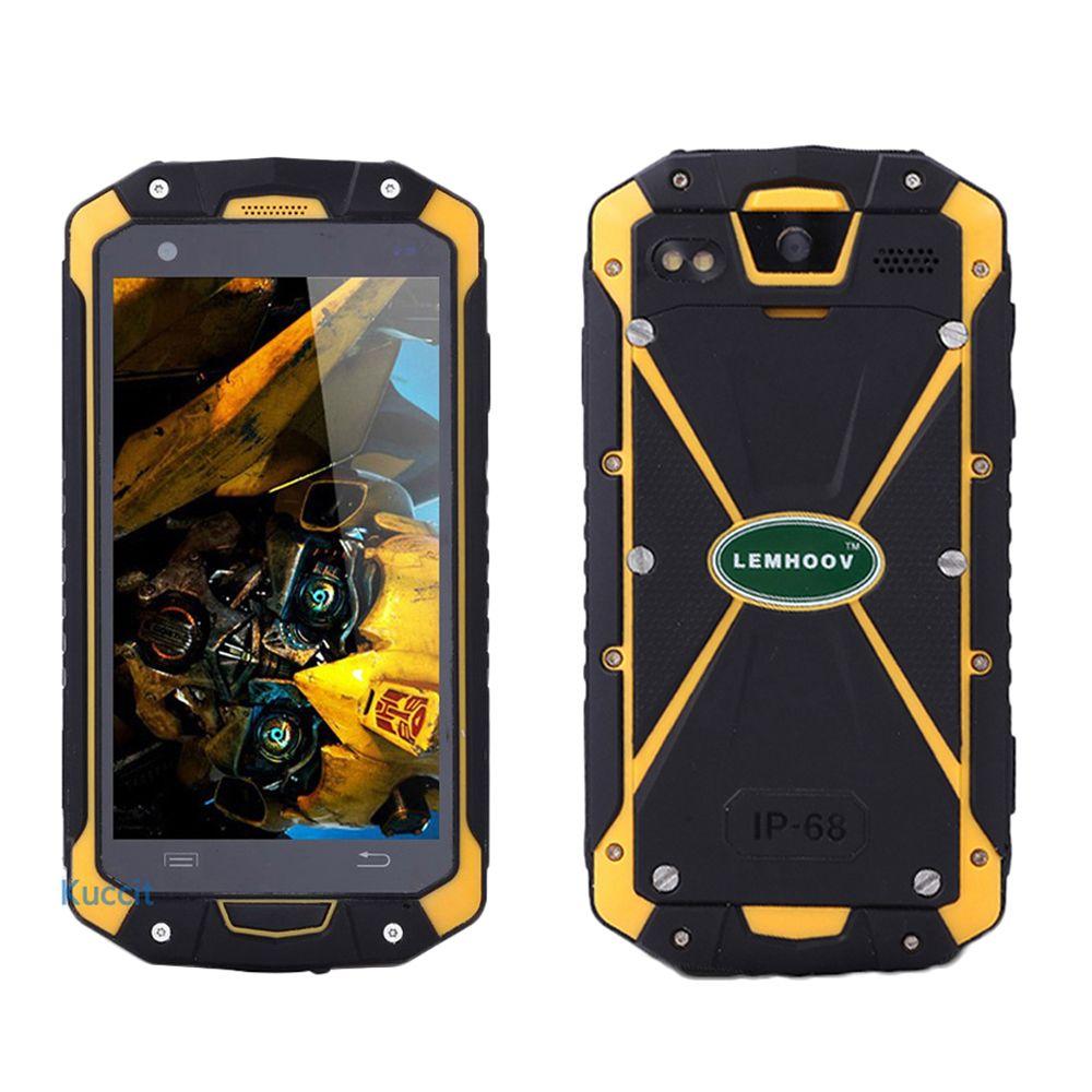 original LEMHoov L15 IP68 Waterproof phone Rugged Android Smartphone MTK6582 Quad Core NFC GPS Dual sim UHF VHF Walike Talkie