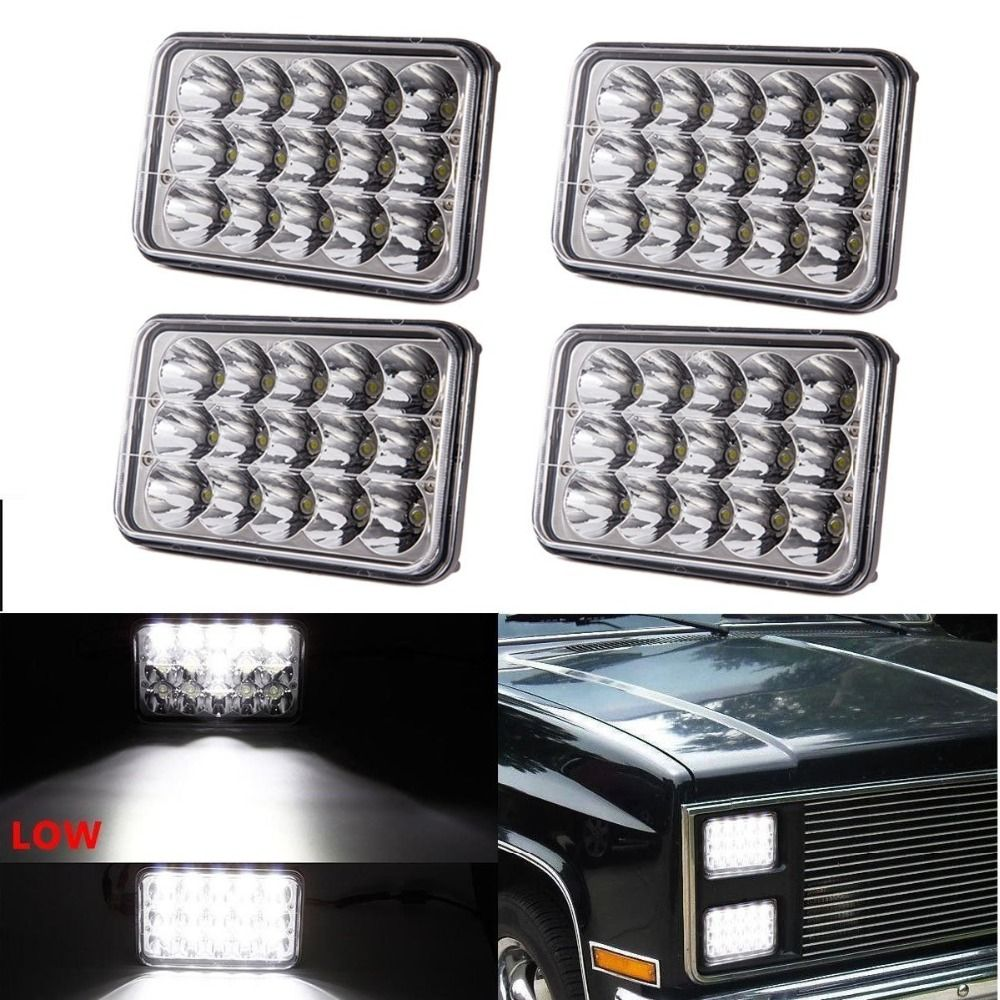 Rectangle 45w 4x6inch Led Headlights for 357 378 379 Led Headlight 4x6 Led Headlights 4x6 Hi/Low Led Sealed Beam light