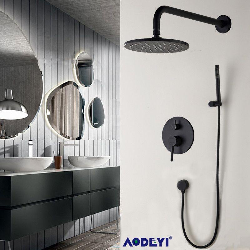Ensemble de douche de salle de bain en laiton noir 8 Rianfall pomme de douche robinet de douche mural bras de douche inverseur mélangeur ensemble de poche