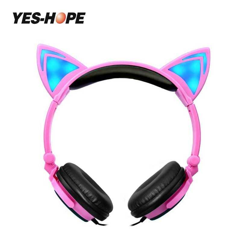 YES-HOPE Halloween gift Foldable Flashing Glowing Cat Ear Headphones Children headphones With LED Light  For PC Mobile Phone