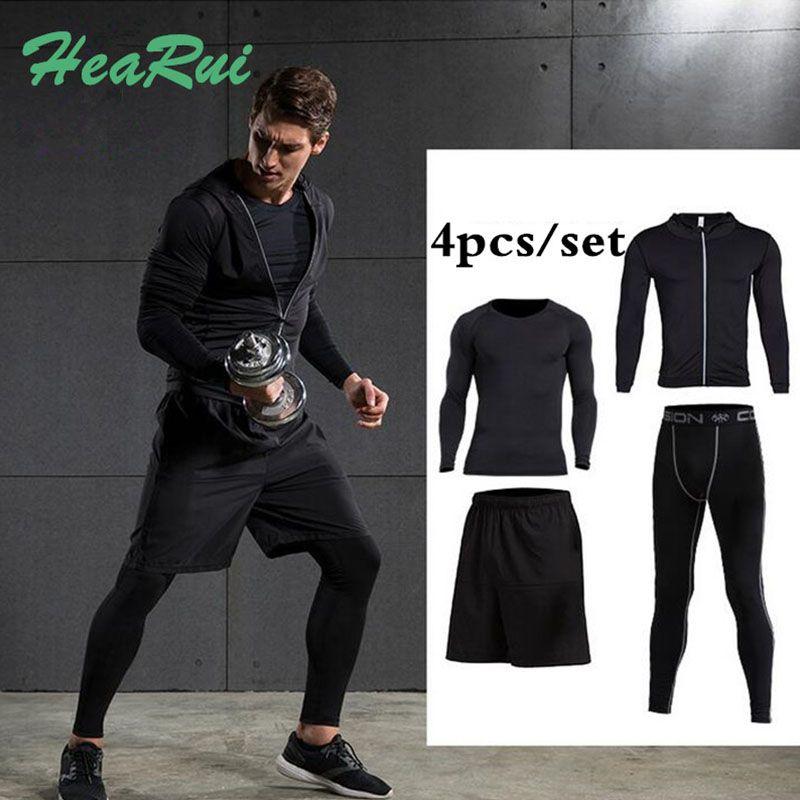 Men's Sport Running Suits 5pcs/set Quick Dry 2017 Survetement Basketball Soccer Training Tracksuits Men Gym Clothing Sets