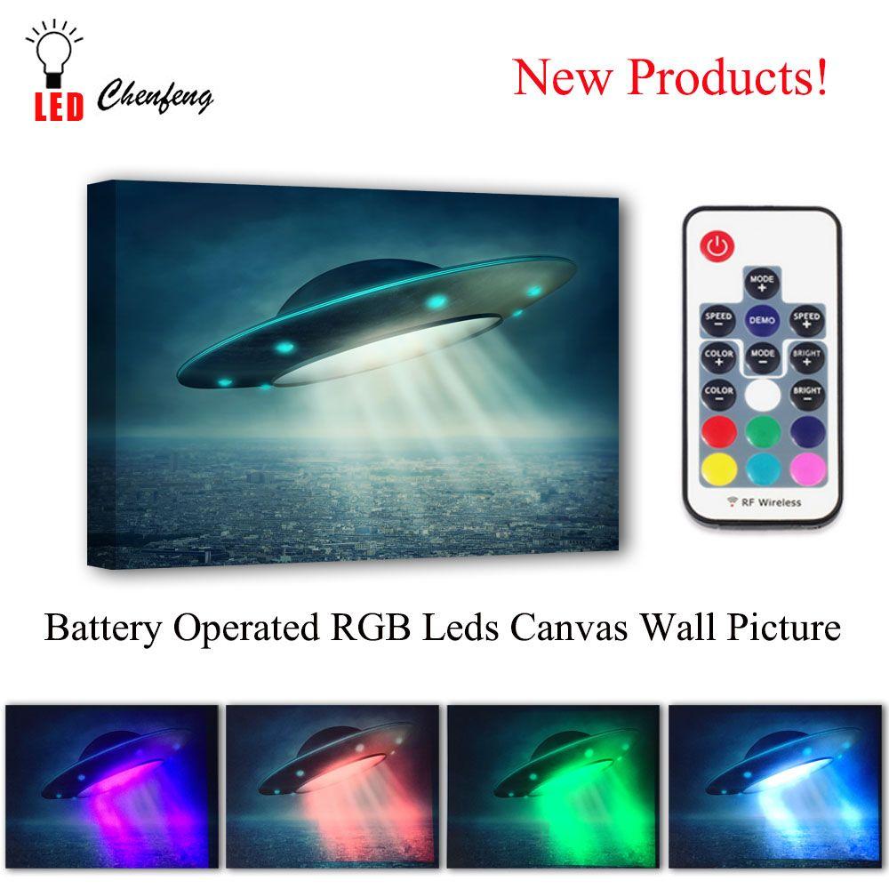 RGB Led Leinwand Wand Dekorative UFO Fliegende laden Bild fernbedienung Leinwand Drucken Beleuchtet malerei beleuchtet kinder Geschenk