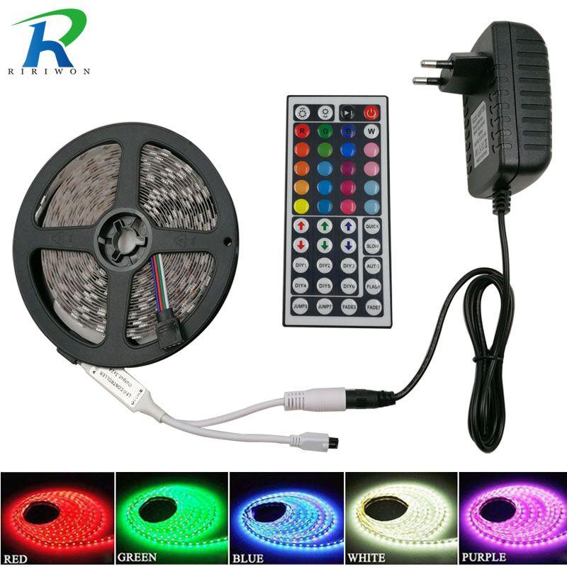 RiRi gagné SMD5050 RGB LED Bande Lumière 5 m 10 m 60 Leds/m DC 12 v bande ruban diode flexible étanche 44 touches Contrôleur adaptateur ensemble