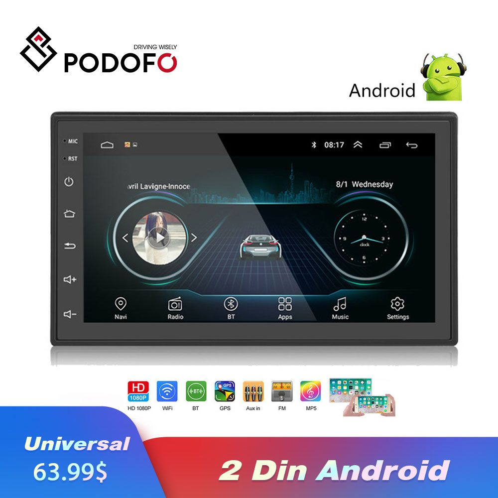 Podofo 2 Din Car Radio Android Universal GPS Navigation Bluetooth Wifi Car Audio Stereo Car Multimedia MP5 For Volkswagen Nissan