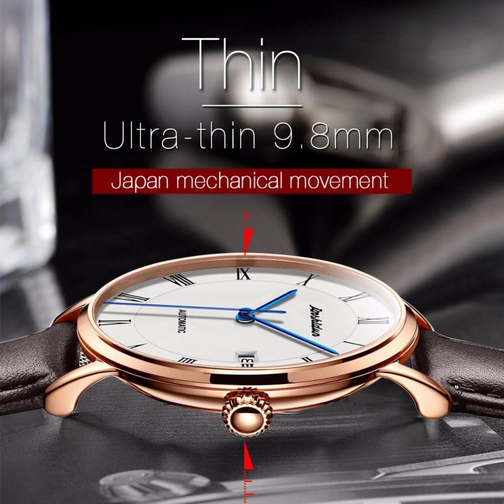 Automatic Watch Men date Luxury Leather Mechanical Watches men luxury brand fashion watch 2018 Relogio masculino bayan kol saati