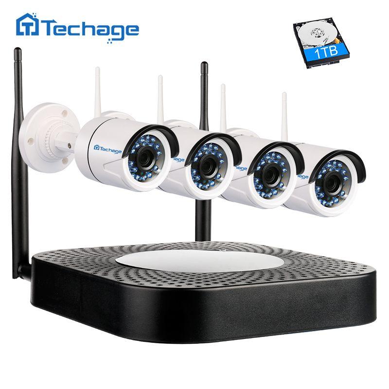 Techage Home Security Wireless NVR Kit Wifi CCTV System 720 P 1.0MP P2P Indoor Outdoor Ip-kamera Überwachung Set Bewegung erkennen