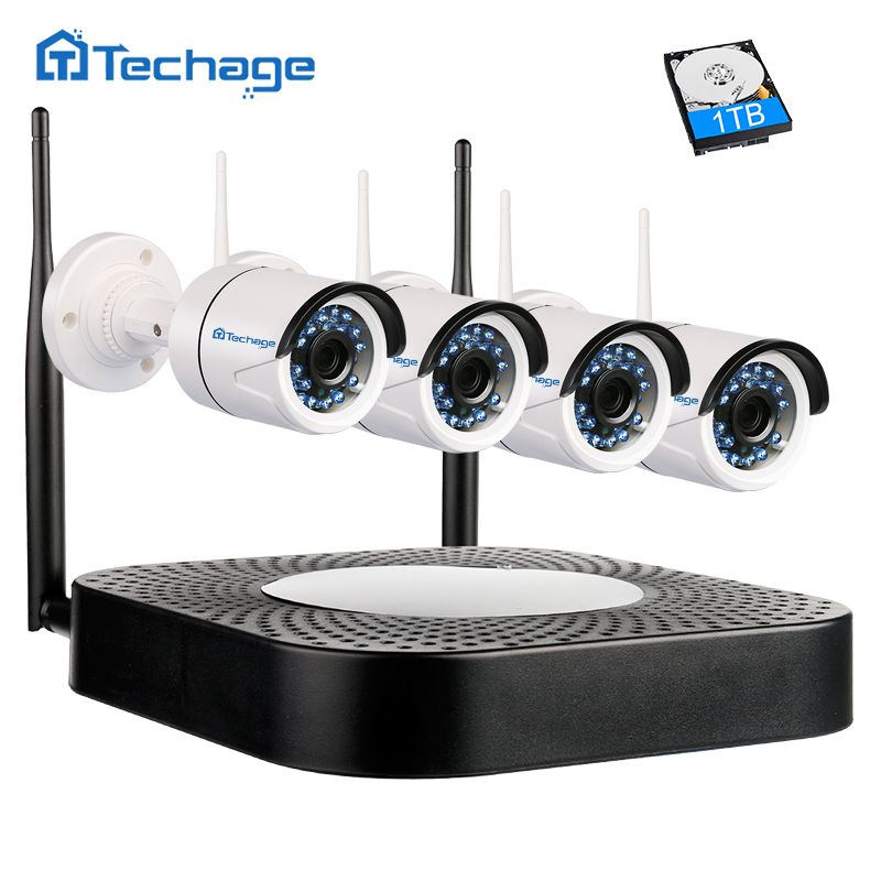 Techage Home Security Wireless NVR Kit 4CH Wifi CCTV System 720P 1.0MP P2P Indoor Outdoor IP Camera Video Surveillance Set