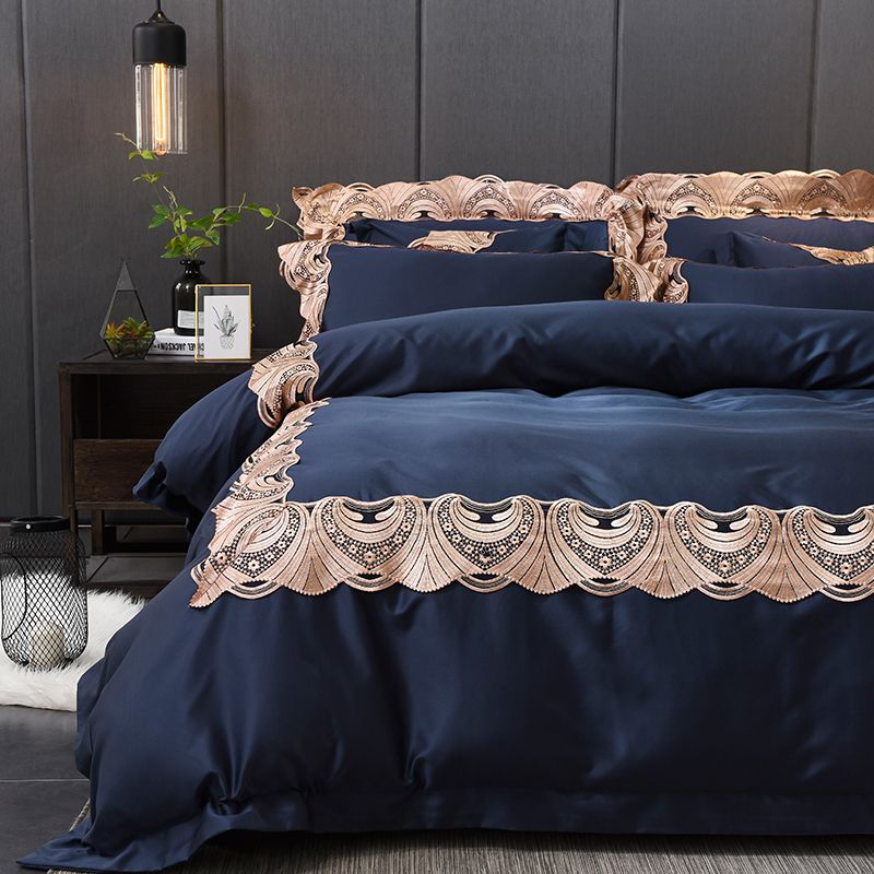 New store special offer RUIYEE brand bedding set white jacquard cotton luxury bedding set oversized bed cover lace cover