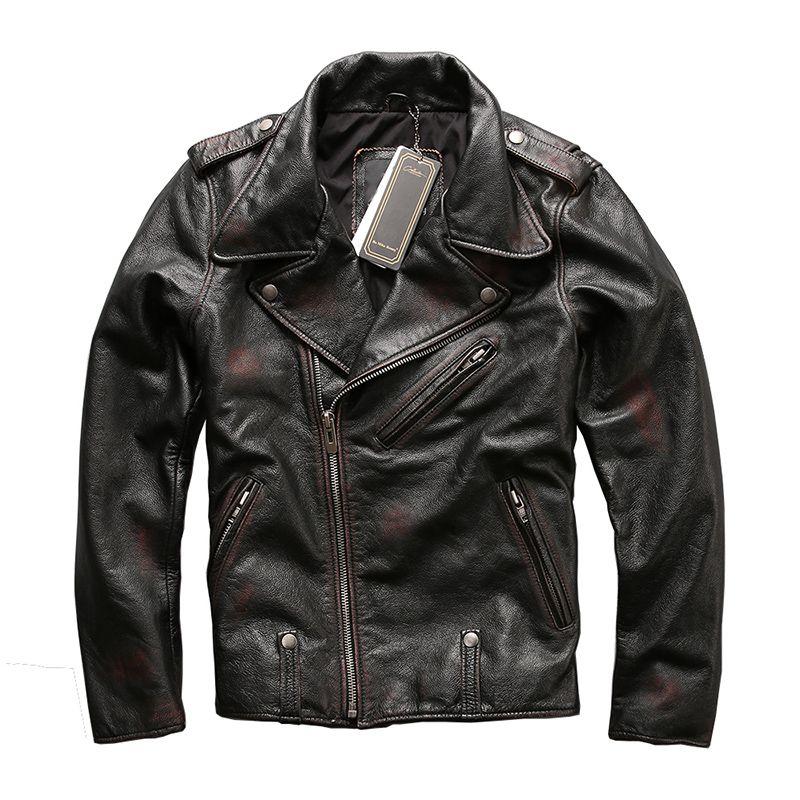 HARLEY ZWETSCHGE Vintage Schwarz Männer Diagonal Zipper Motorrad Leder Jacke Echt Rindsleder Russische Slim Fit Biker Leder Mantel