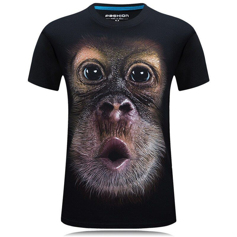 2017 summer Men's animal T-Shirt orangutan/gas monkey/Wolf 3D Printed T-Shirts Men Funny tees tops tee shirt large size