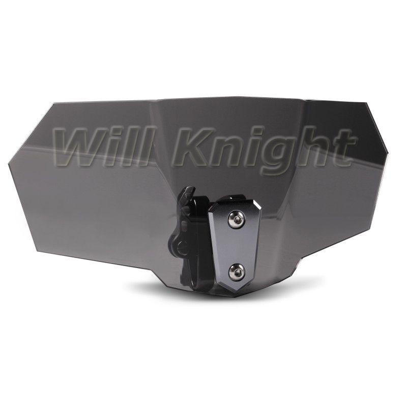 Airflow Adjustable Variable Spoiler Smoke Windshield Black Bolt-On Windscreen For Honda Yamaha Suzuki Kawasaki Ducati KTM