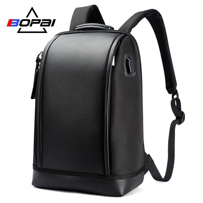 BOPAI USB Charge externe Anti-vol sac à dos pour ordinateur portable voyage grande capacité 15.6 pouces pochette d'ordinateur en cuir étanche sac à dos hommes