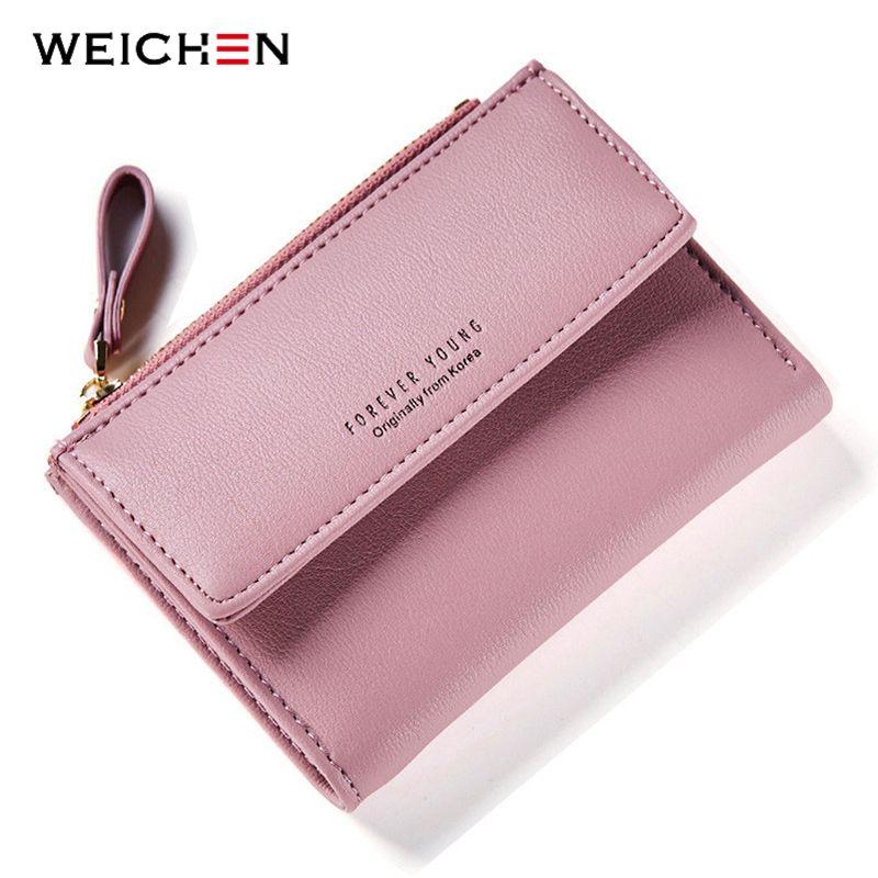 WEICHEN marque Designer femmes portefeuille avec fermeture à glissière Coin poche fentes pour cartes femmes portefeuilles dames sacs à main court Carteras de haute qualité