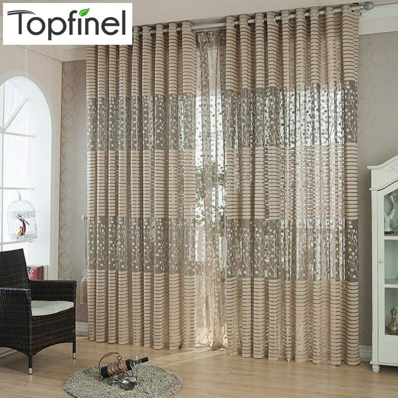 Top Finel bande moderne luxe fenêtre rideaux pour salon cuisine pure rideaux panneaux fenêtre traitements Draperis œillet