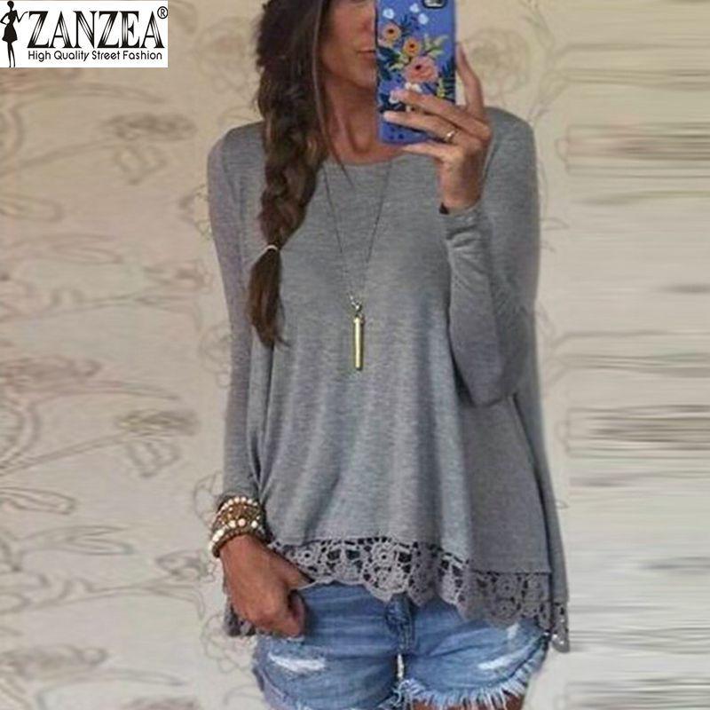 Nouveau 2016 Zanzea mode t-shirt femmes à manches longues o-cou décontracté hauts Sexy dentelle Crochet broderie top T-shirts Blusas grande taille 5XL