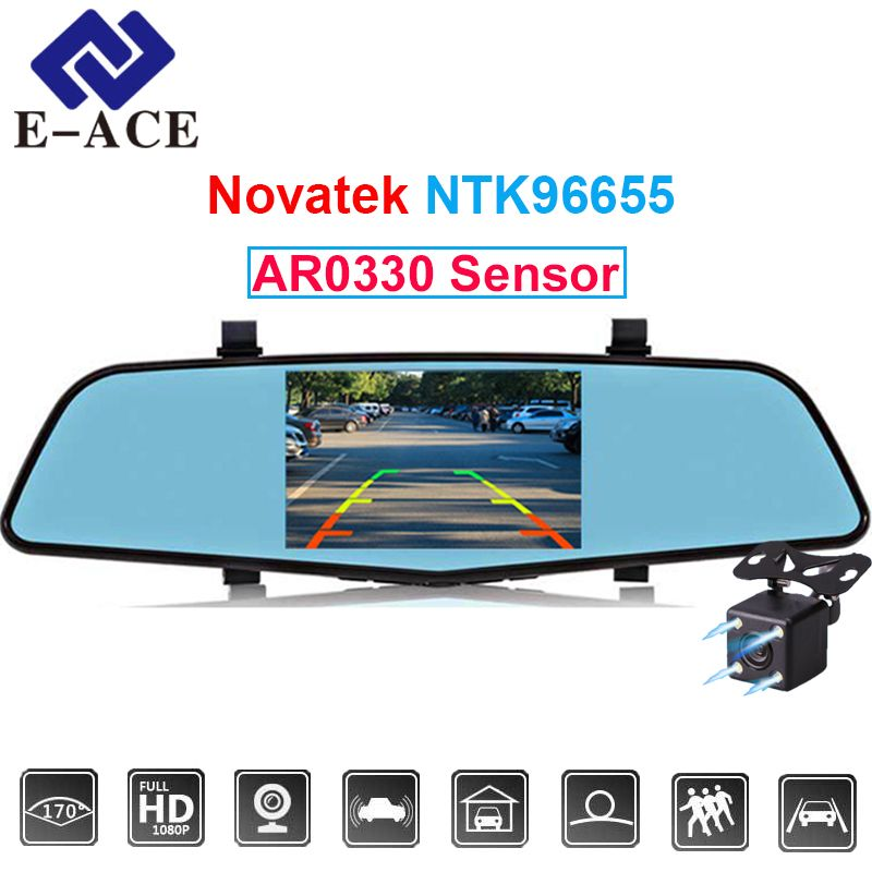 E-ACE 4.5 Inch Novatek 96655 Sensor Registrar Video Recorder Full HD 1080 P Car Dvr With Two Cameras Mirror Automotive Dash Cam