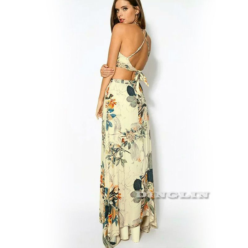 GZDL Fashion Women Elegant Beach Casual <font><b>Party</b></font> Two Pieces Suit Style Backless Spaghetti Strap Crop Top Floral Long Skirt CL2762