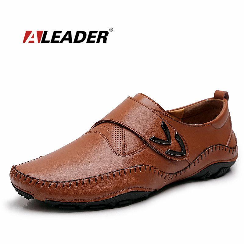 Aleader Для мужчин S кожа Лоферы для женщин Новинка 2017 г. повседневная обувь на плоской подошве Для мужчин Мокасины для вождения Модные слипоны ...