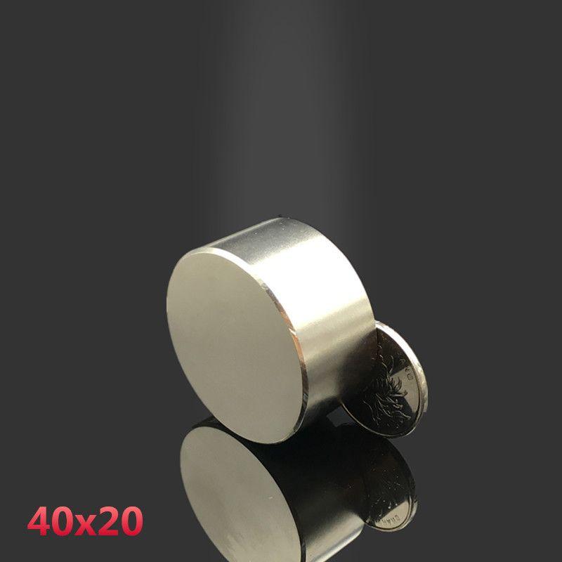 Neodymium magnet 40x20 2pcs rare earth super strong powerful round welding search permanent magnet 40*20mm gallium metal magnet