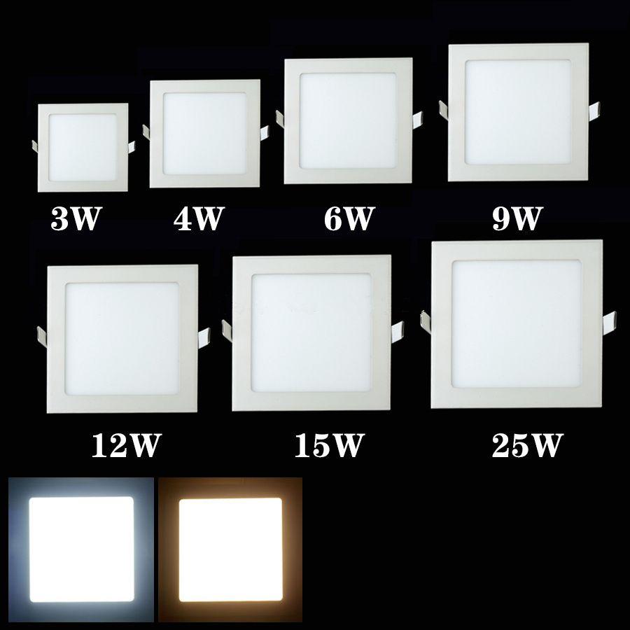 3 Watt 9 Watt 12 Watt 15 Watt 25 Watt LED-Panel Licht Warmes Weißes/kaltes weiß quadrat ausgesetzt führte deckenpunktbeleuchtung birne ac85-265v free verschiffen