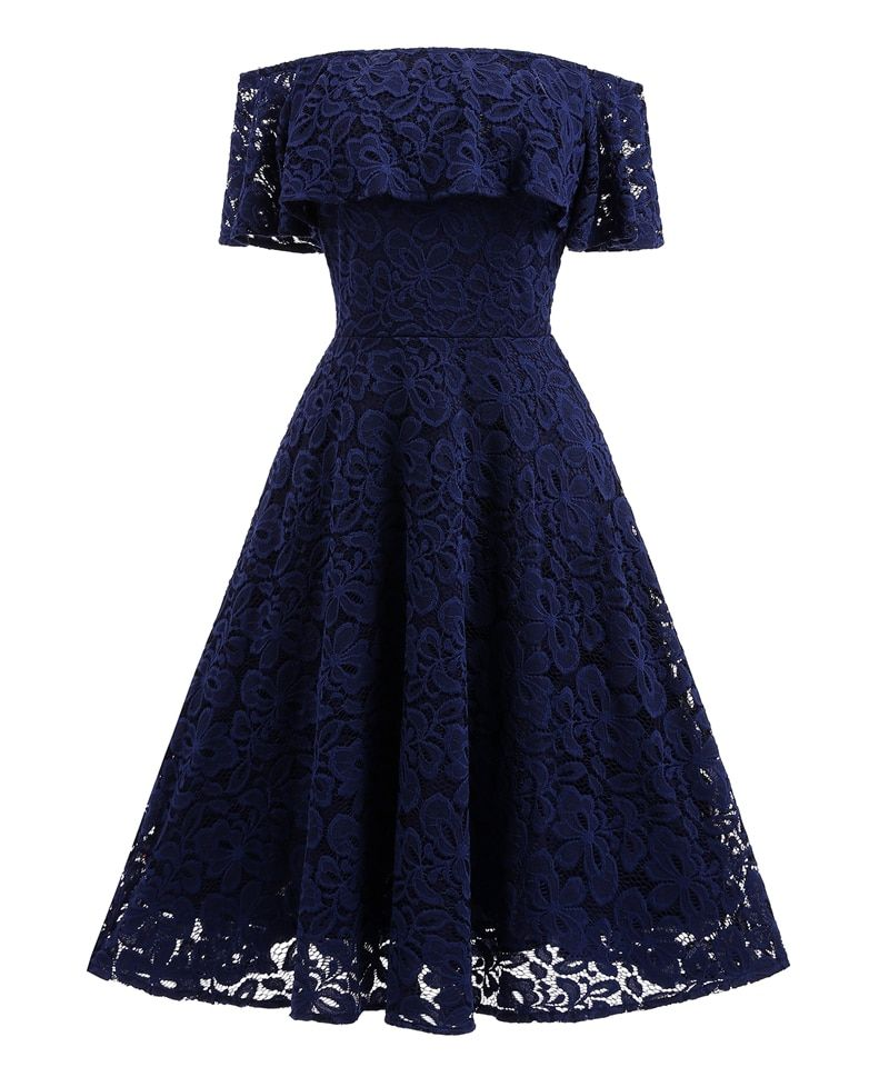 Womens Elegant Sexy Lace See Through Out off Shoulder One Piece Dress Suit Tunic Skater Party Club Bridesmaid Mother of Dress