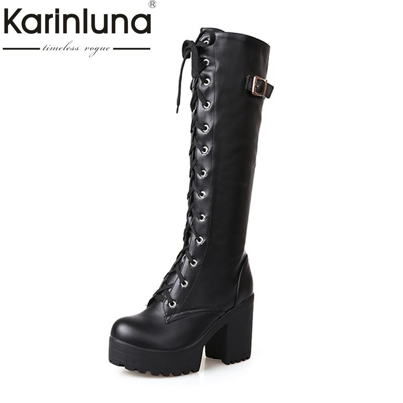 KarinLuna 2018 large sizes 34-43 Sexy high heels Knee-High Boots Woman Platform Winter women's Shoes add Fur Snow Boot female