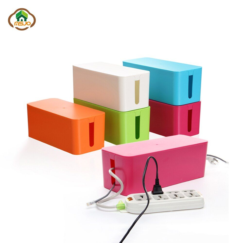 Msjo Storage Boxes Wire Organizer Box Cable Management Electrical Outlet Bins For Power Strip Multi-Charger Wire Arranging Case