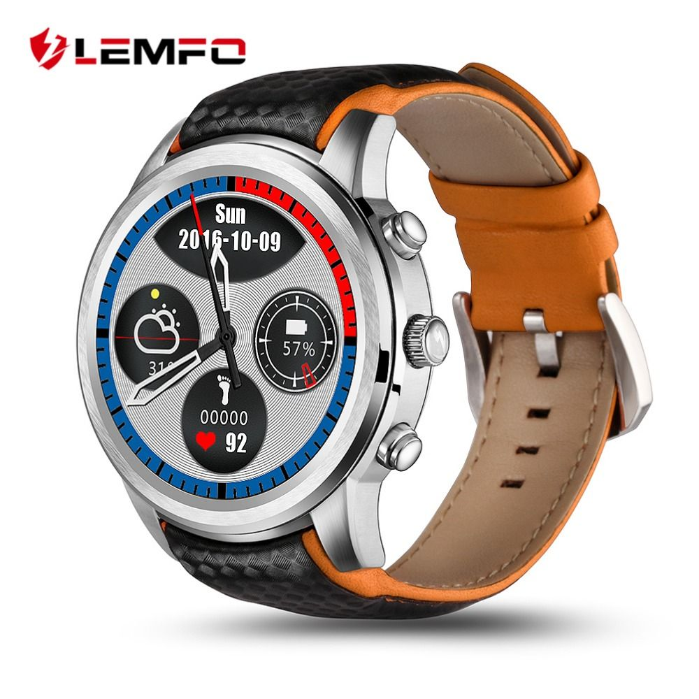 LEMFO LEM5 Smartwatch Android 5.1 GPS Watch 3G Support SIM Card Bluetooth Wifi Heart Rate Monitor Touchscreen Android Phones