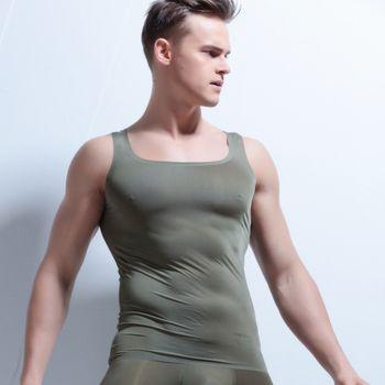 AIIOU Homme Sexy Transparent Maillot Hommes Glace Soie Minceur Mâle Nylon Sans Manches Col V Mince Confort Manches Courtes Tops Gay Sous-Vêtements