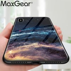 MaxGear Star Space Tempered Glass Case For Iphone X 8 7 Plus 6 6S Soft Edge Skin Cover Glass Slim Capa for iPhone6S XR XS Max