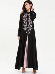 Повседневная Вышивка, макси-платье, мусульманская абайя, комплект из 2 предметов, шикарное кимоно, длинные халаты, свободная Юба Рамадан, Бли...