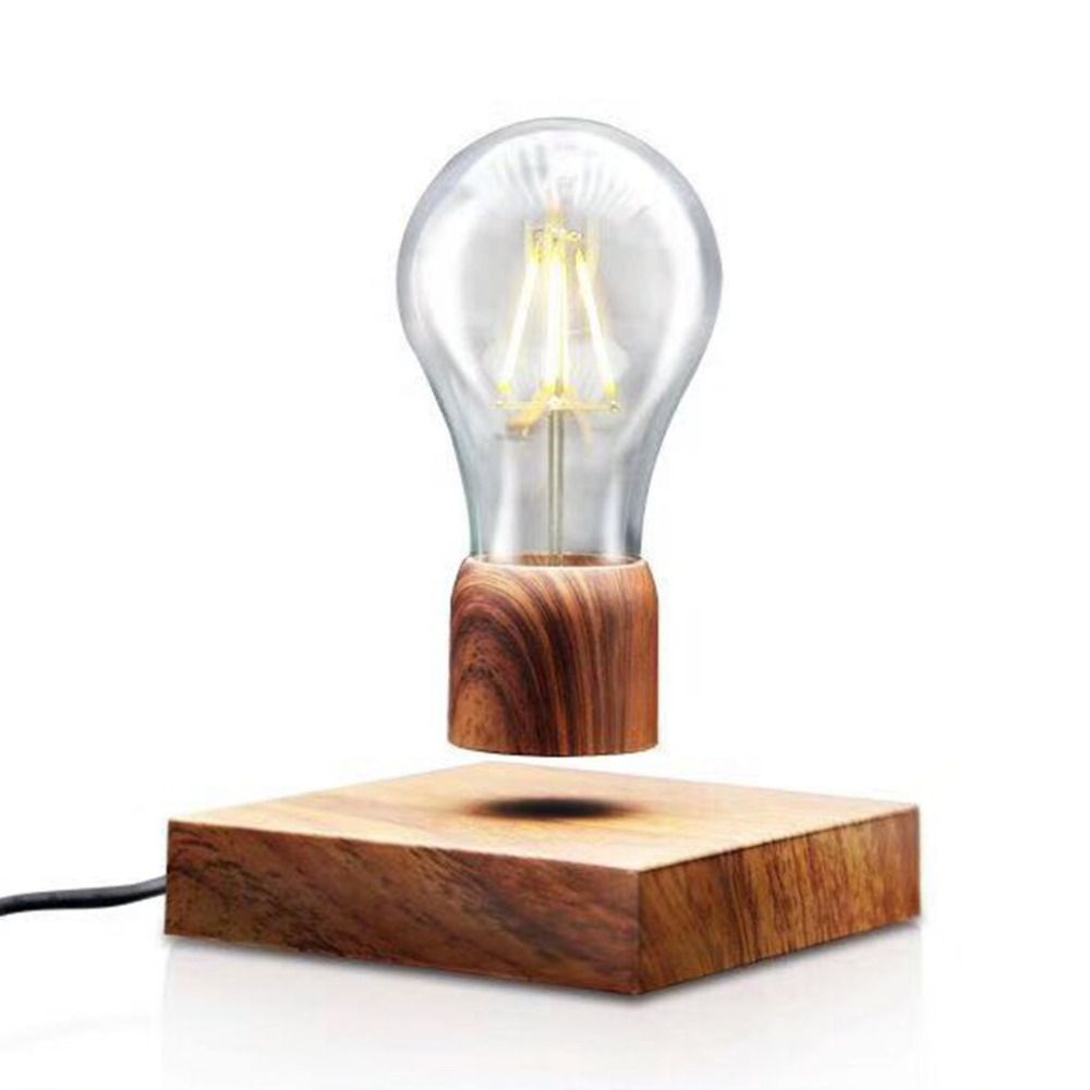 2018 NEW Magnetic Levitating Light Bulb Desk Wood Grain Floating Lamp Unique Gift Home Office Room Small Night Light Decoration