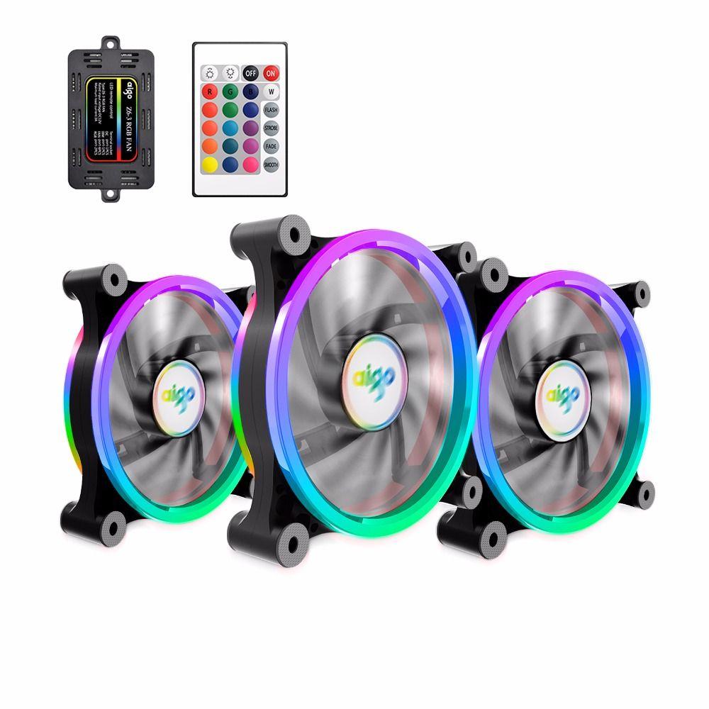 3 Pack Aigo Z6 RGB Adjust LED Computer Case PC Cooling Fan 120mm Quiet IR Remote