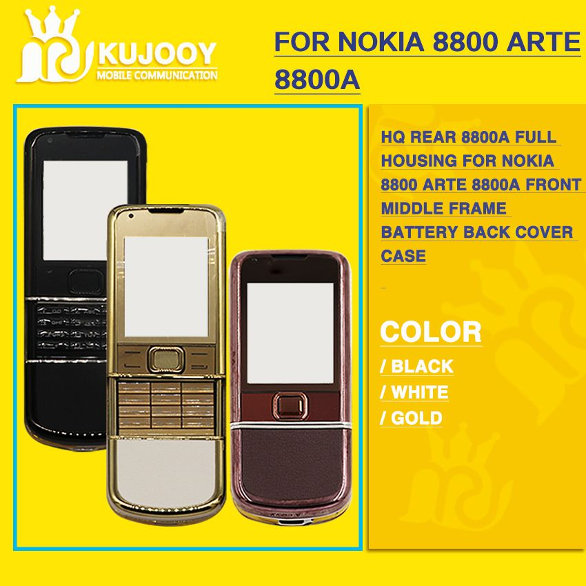 HQ Rear 8800A full housing for Nokia 8800 Arte 8800a Front Middle Frame Battery Back Cover Case
