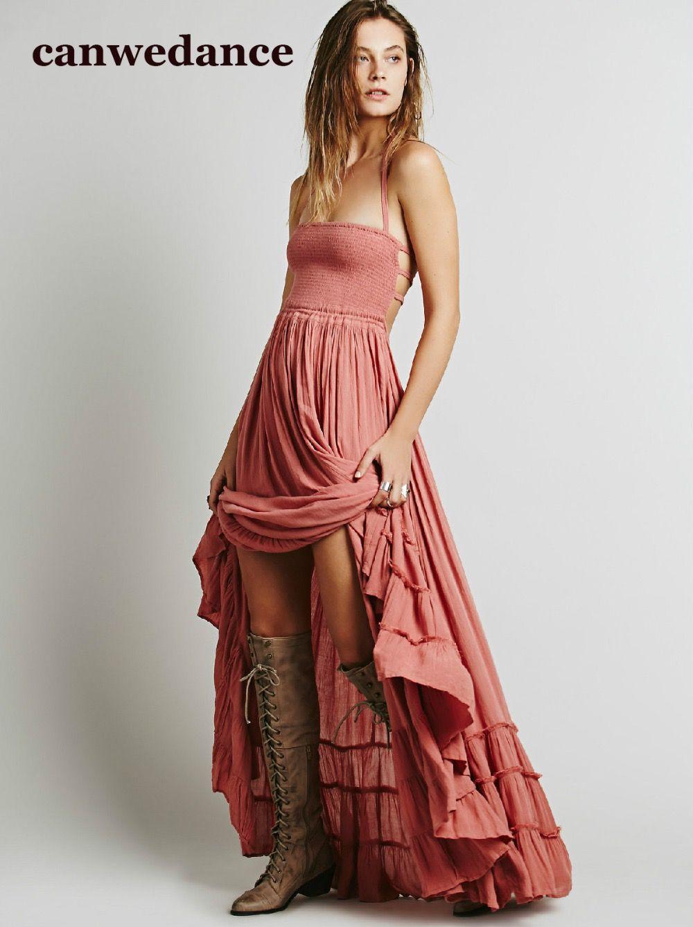 2018 Plage robe sexy robes boho bohème personnes Vacances d'été longue dos nu coton femmes partie hippie chic robes mujer