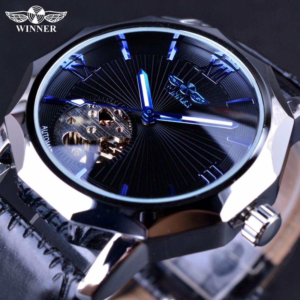Winner Blue Ocean Geometry Design Transparent Skeleton Dial Mens Watch Top Brand Luxury <font><b>Automatic</b></font> Fashion Mechanical Watch Clock