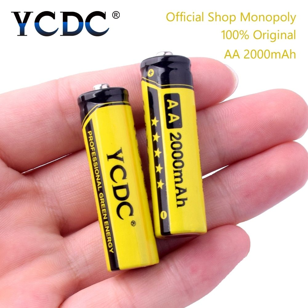 YCDC Original 4-20Pcs/Lot NI-MH AA 2A Rechargeable Batteries 1.2V 2000mAh Power Bank Battery With Battery Box Gift